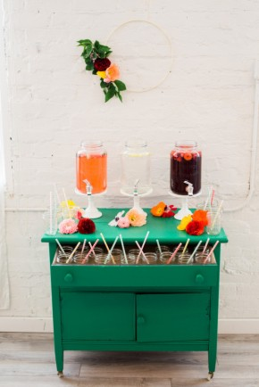 This drink bar is classy - I love the repurposed dresser.