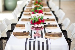 I'm currently obsessed with black and white strip everything, so I need that table runner!