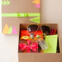 Welcome box for the Bachelorette party guests - all neon, of course!