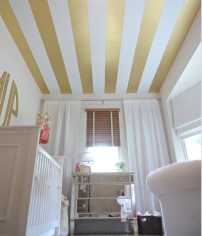 Wallpapered ceiling. Gold stripes. Perfection!