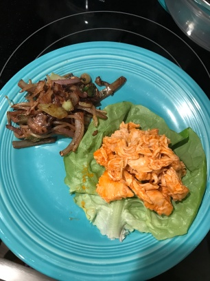 Buffalo chicken with grilled veggies